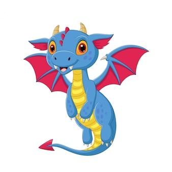 Dibujos animados bebé dragón volando en blanco