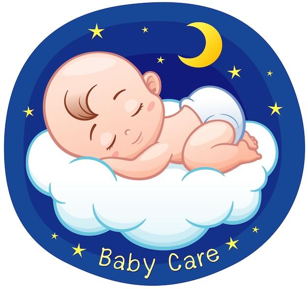 Dibujos animados bebé durmiendo en una nube