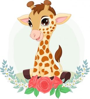 Dibujos animados bebé jirafa sentada con fondo de flores