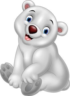 Dibujos animados bebé oso polar sentado
