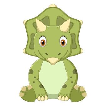 Dibujos animados bebé triceratops dinosaurio sentado