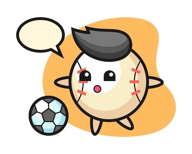 Dibujos animados de béisbol está jugando fútbol