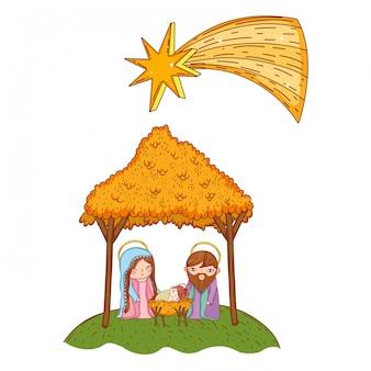 Dibujos animados de belén navideño