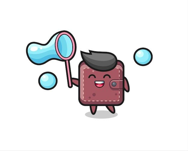 Dibujos animados de billetera de cuero feliz jugando pompas de jabón, diseño de estilo lindo para camiseta, pegatina, elemento de logotipo
