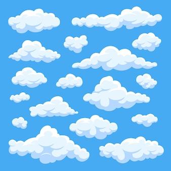 Dibujos animados blancos mullidos nubes en conjunto de vectores de cielo azul