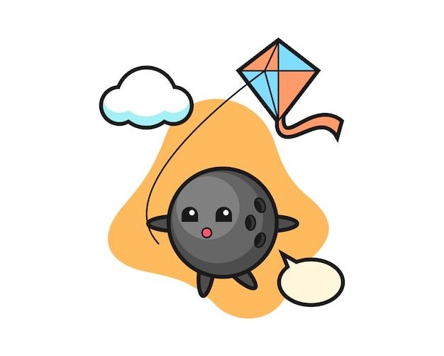Dibujos animados de bola de boliche está jugando cometa