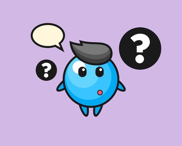 Dibujos animados de bola de goma con el signo de interrogación