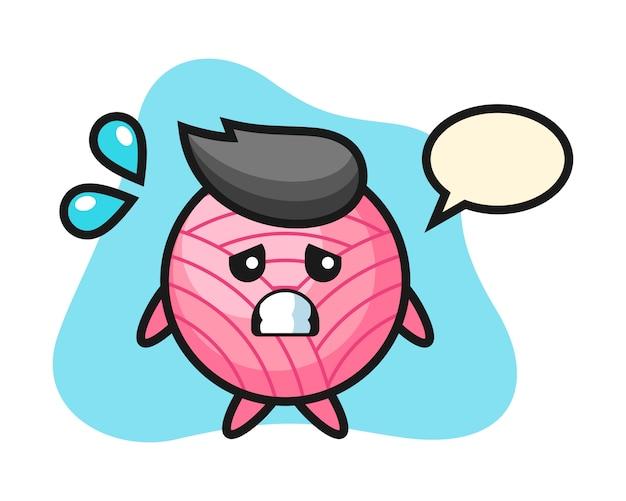 Dibujos animados de bola de hilo con gesto de miedo
