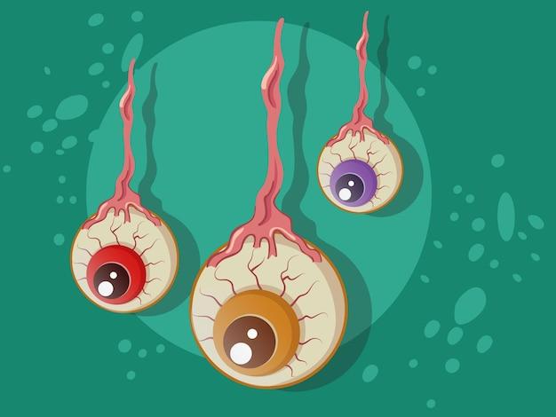 Dibujos animados de bola de ojo de halloween en el fondo.ilustración de vector.