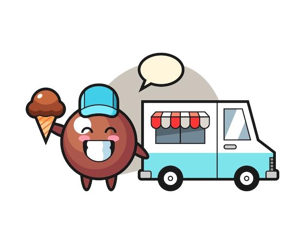 Dibujos animados de bolas de chocolate con camión de helados