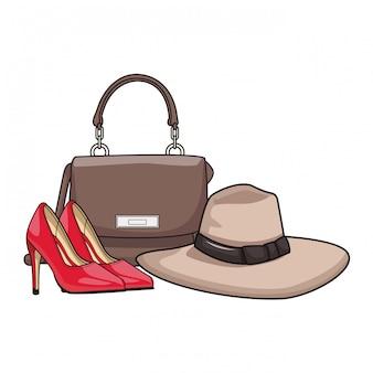 Dibujos animados de bolso elegante mujer