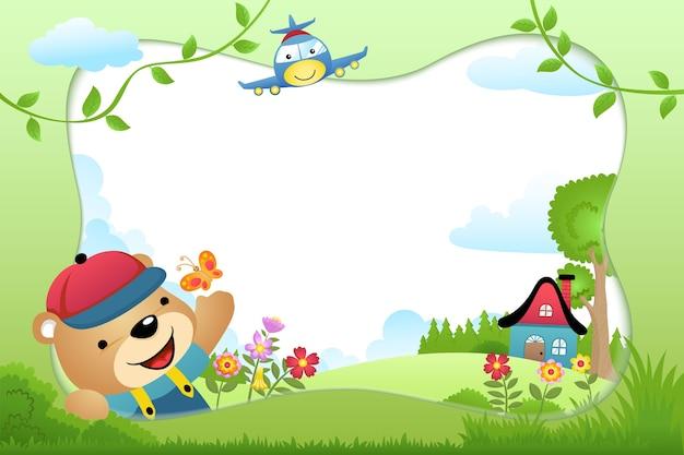 Dibujos animados de borde de marco con oso y un avión sobre fondo de naturaleza