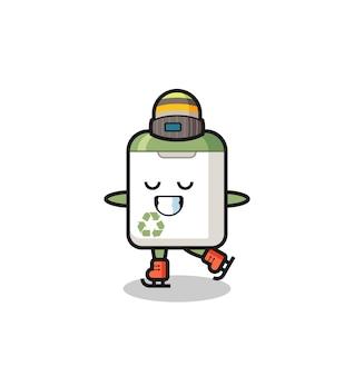 Dibujos animados de bote de basura como un jugador de patinaje sobre hielo haciendo un diseño de estilo lindo para camiseta, pegatina, elemento de logotipo