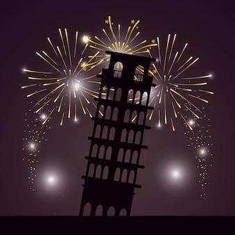 Dibujos animados brillantes fuegos artificiales