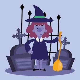 Dibujos animados de brujas de halloween con diseño de escoba y tumbas, tema de miedo