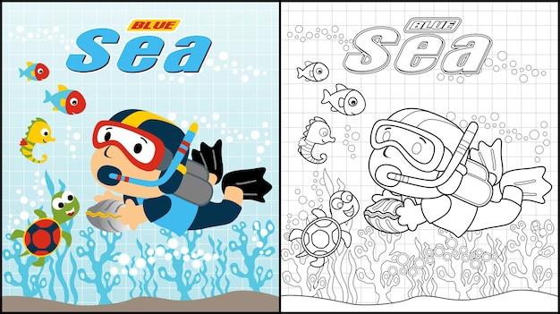 Dibujos animados de buceo bajo el mar azul