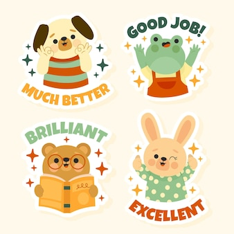 Dibujos animados de buen trabajo: pegatinas