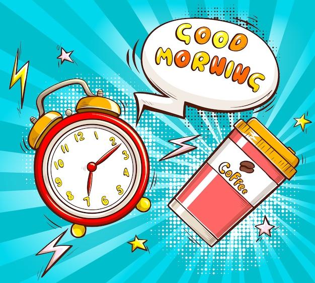 Dibujos animados de buenos días con alarma y taza de café.