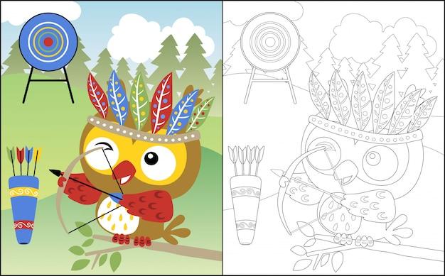 Dibujos animados de búho con tocado de plumas el arquero