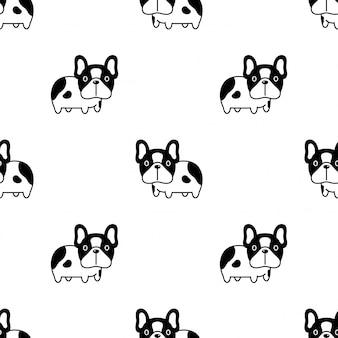 Dibujos animados de bulldog francés de patrones sin fisuras de perro