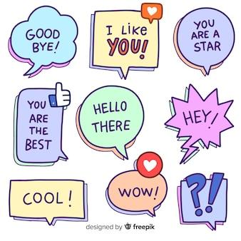 Dibujos animados de burbujas de discurso con variedad de mensajes