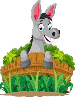 Dibujos animados de burro sosteniendo valla