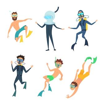 Dibujos animados de buzos de mar divertidos personajes