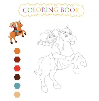 Dibujos animados de caballos, libro para colorear