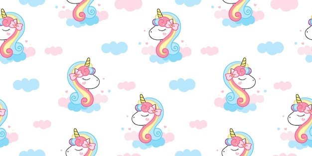 Dibujos animados de cabeza de unicornio de patrones sin fisuras con animal kawaii de nube pastel