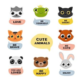 Dibujos animados de cabezas de animales con frases motivacionales