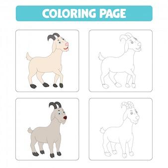 Dibujos animados de cabra, libro para colorear