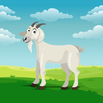 Dibujos animados de cabra en el patio
