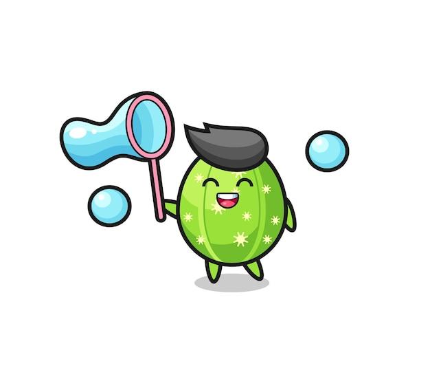 Dibujos animados de cactus feliz jugando pompas de jabón, diseño de estilo lindo para camiseta, pegatina, elemento de logotipo