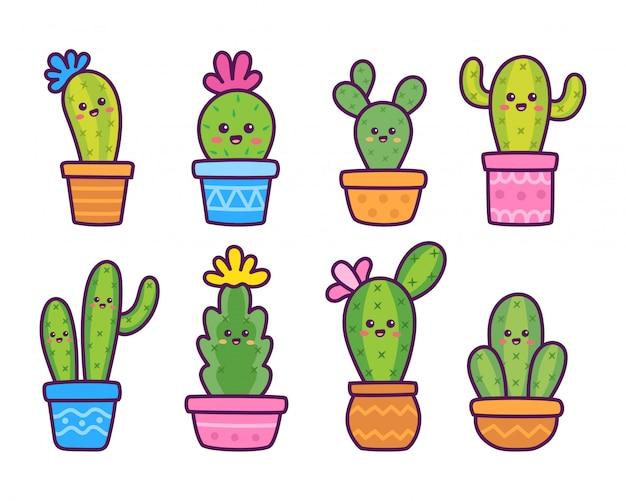 Dibujos animados cactus lindo y kawaii doodle ilustración