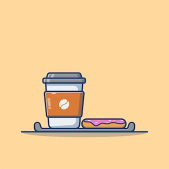 Dibujos animados de café y donas aislado en beige