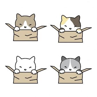 Dibujos animados de caja de gato gatito