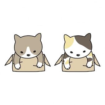 Dibujos animados de caja de gato vector gatito