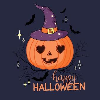 Dibujos animados de calabaza de halloween con sombrero de bruja aislado