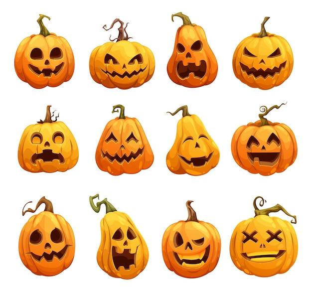 Dibujos animados de calabazas de halloween, jack o lantern personajes de miedo aislados. linternas de calabaza de halloween, lindas y felices con una sonrisa aterradora en la cara, vacaciones de terror y calabazas nocturnas espeluznantes con tallas espeluznantes