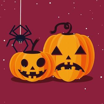 Dibujos animados de calabazas de halloween