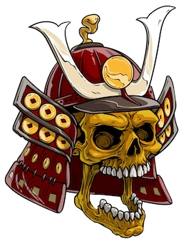 Dibujos animados calavera dorada en casco de samurai japonés