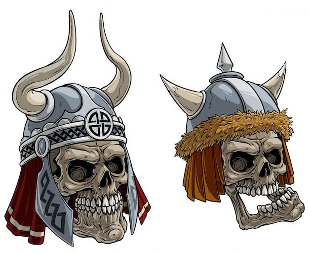 Dibujos animados de calaveras de guerreros vikingos en casco de metal