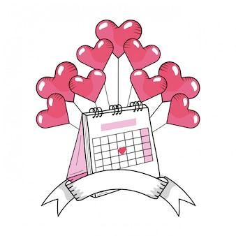 Dibujos animados de calendario del día de san valentín