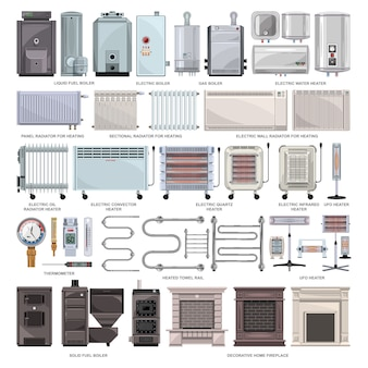 Dibujos animados de calentador eléctrico establece icono. ilustración caldera sobre fondo blanco. conjunto de dibujos animados icono calentador eléctrico.