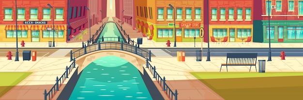 Dibujos animados de calle vacía de ciudad moderna