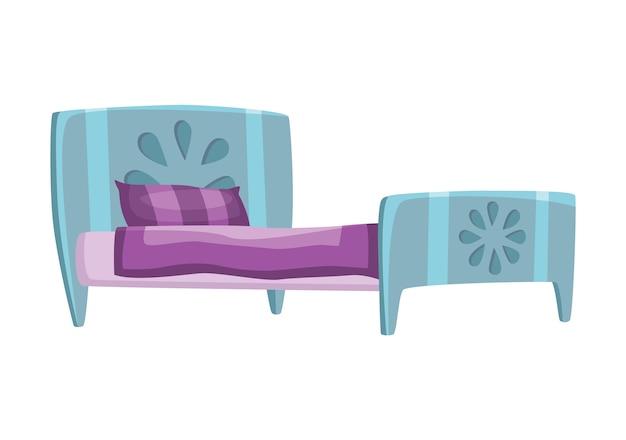 Dibujos animados de cama. ilustración de cama de color con almohada y funda. icono de mobiliario.