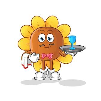 Dibujos animados de camarero de flor de sol