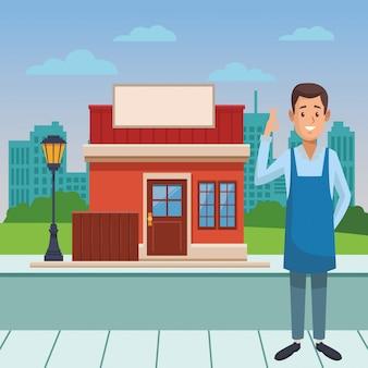 Dibujos animados de camarero de restaurante