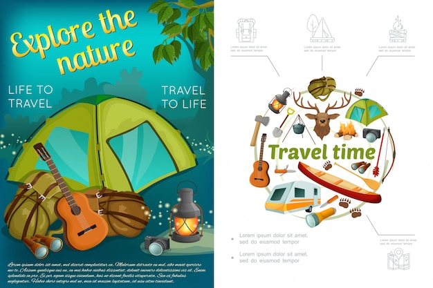 Dibujos animados camping composición colorida con tienda guitarra guitarra linterna linterna cámara hacha pala canoa ciervo cabeza arco flecha caravana remolque