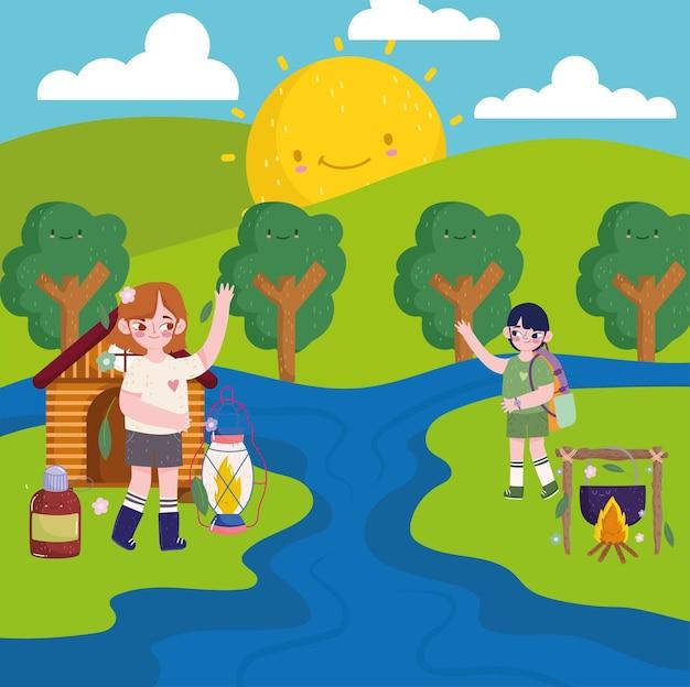 Dibujos animados de camping de personas